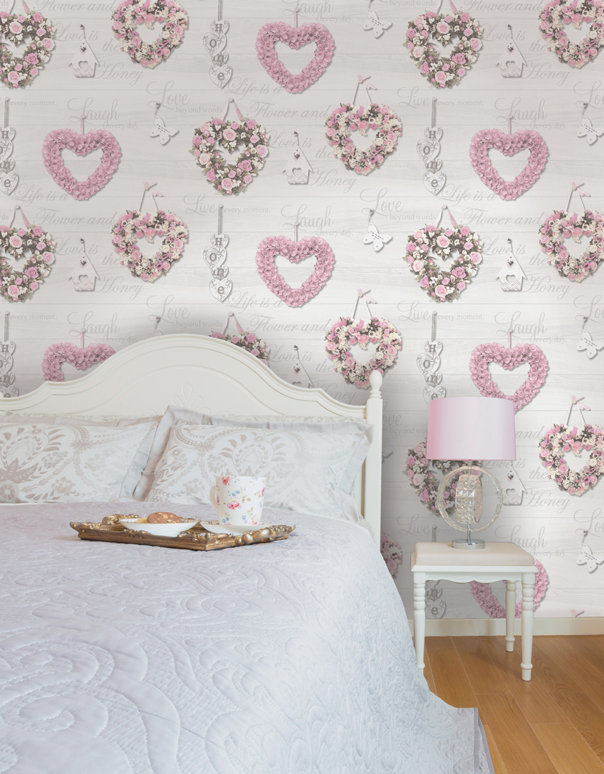 Incredible Gracie Dove Love Hearts Home Calligraphy Wood Feature Wallpaper Holden 12020 Interior Design Ideas Gentotryabchikinfo
