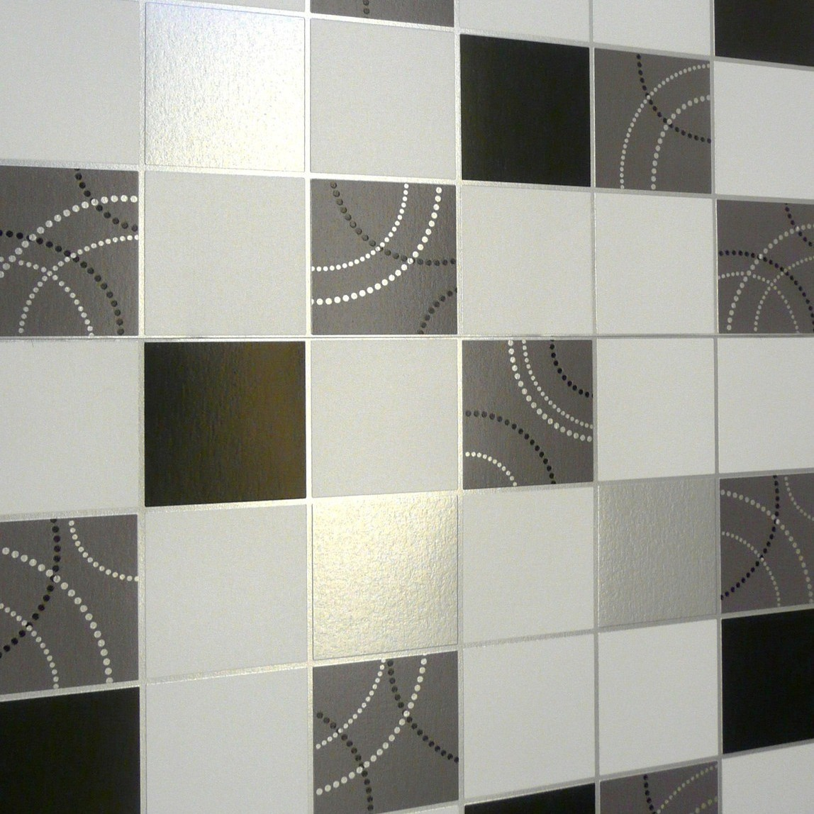 Dotty Silver Black White Tile Tiling Vinyl Bathroom Kitchen ...