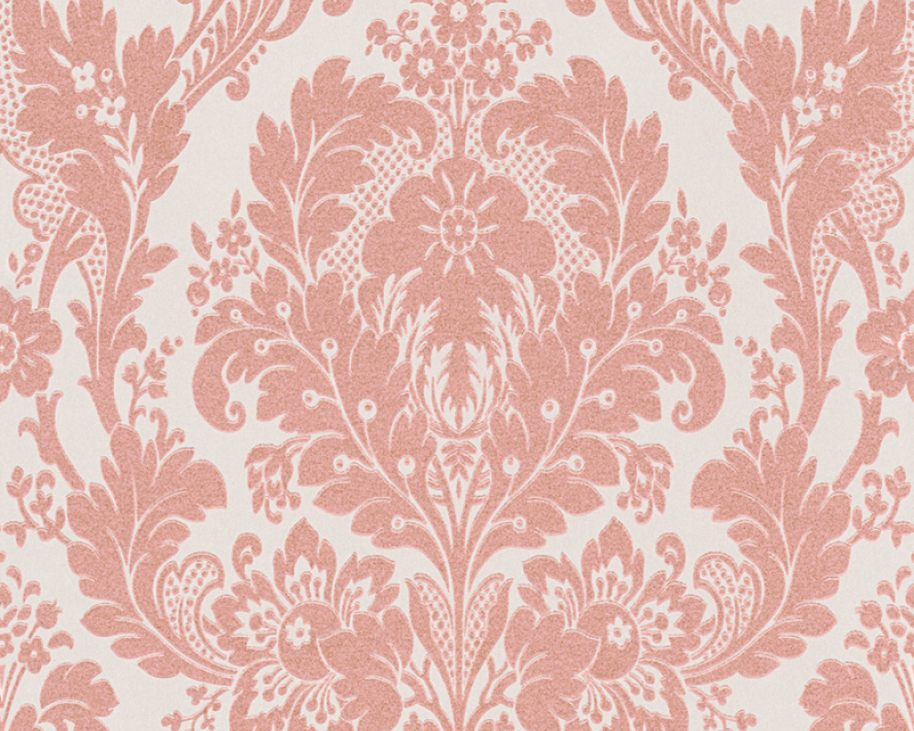 AS Creation Kingston Pink Metallic Glitter Damask Textured ...