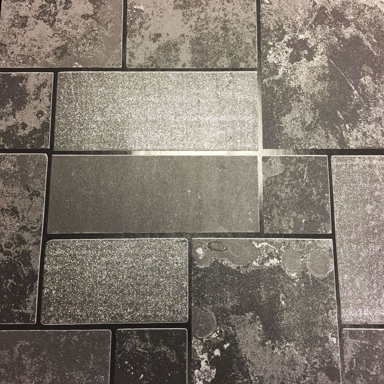 Grey Slate Kitchen Wall Tiles: Washable Black Grey Glitter Tile Slate Stone Effect