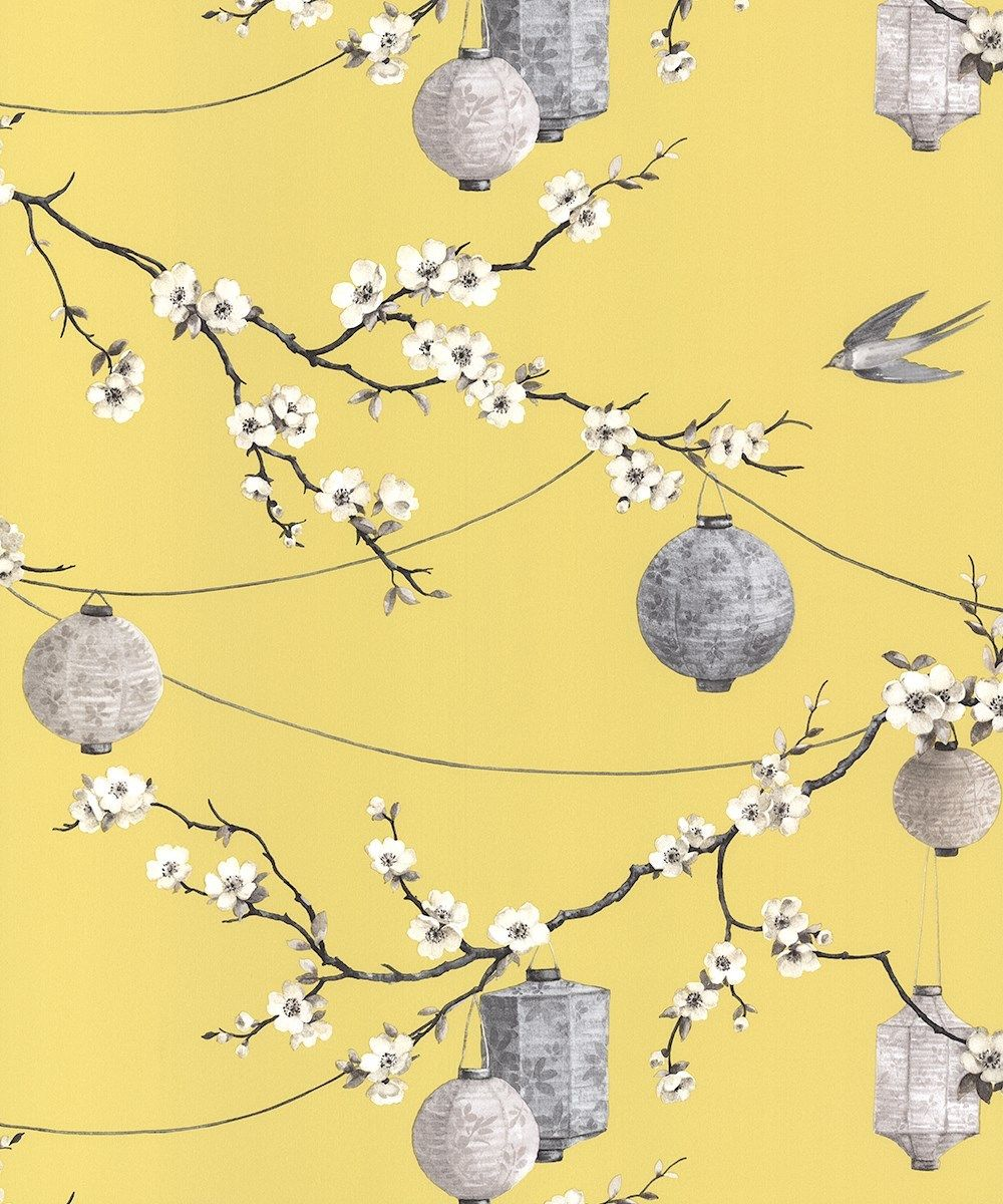 Arthouse Opera Chinese Garden Yellow Floral Feature Wallpaper