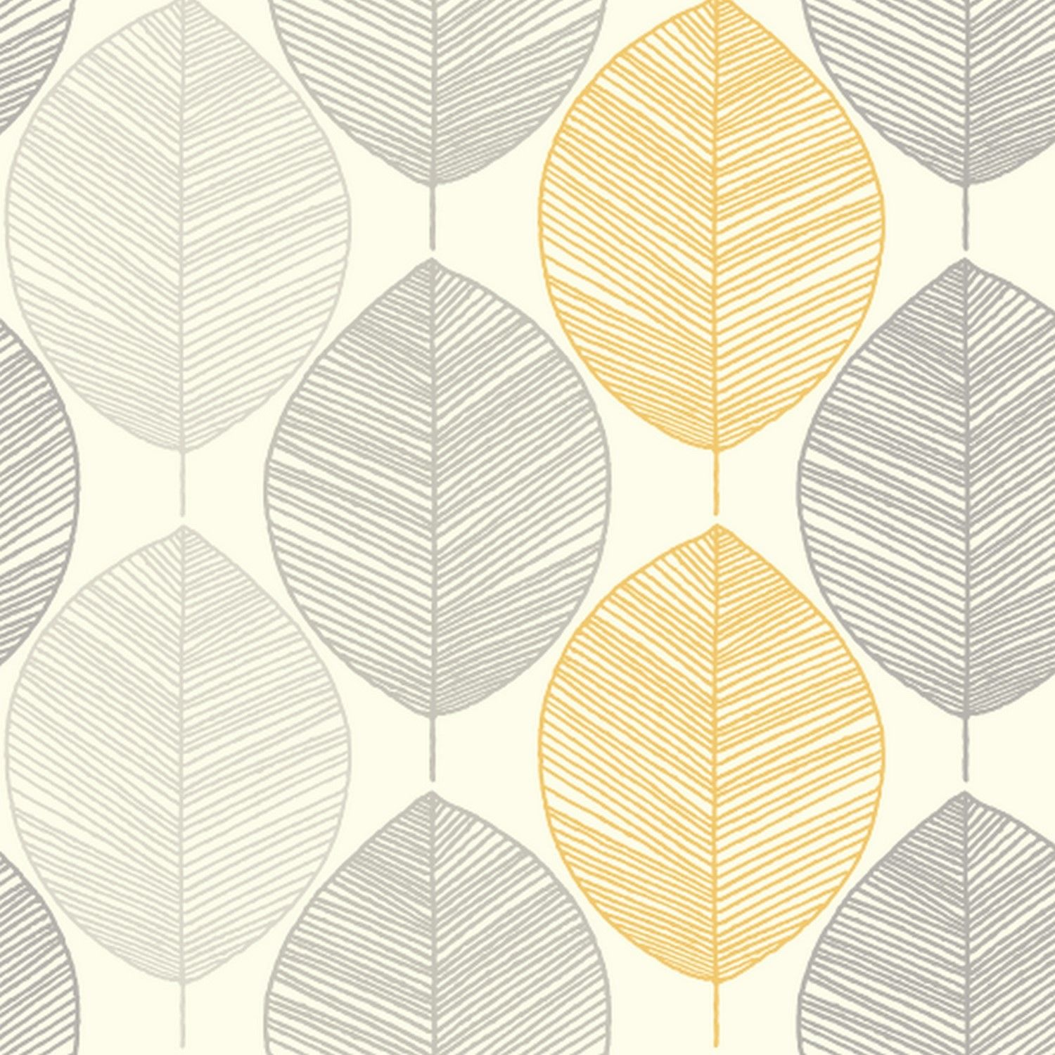 Scandi Leaf Yellow Grey Glitter Feature Wallpaper Opera Arthouse