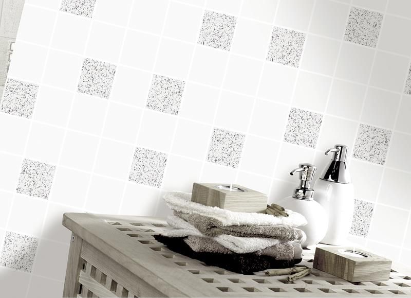 Granite white silver glitter tile tiling vinyl bathroom for Kitchen and bathroom wallpaper