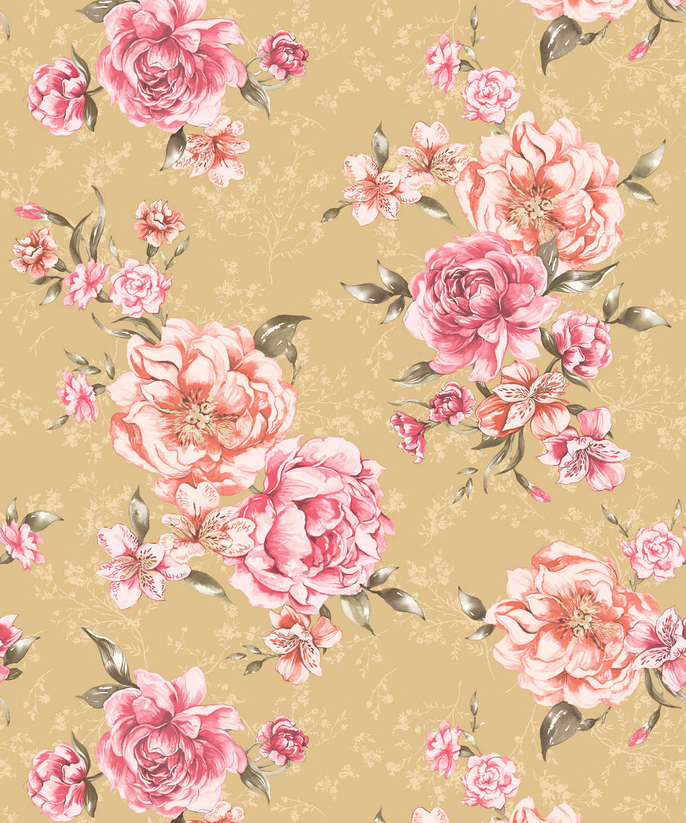 Holden Josephine Mustard Coral Floral Feature Wallpaper 98863