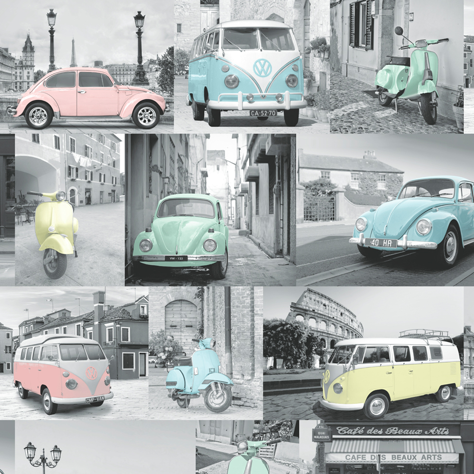 Volkswagen Vw Camper Van Beetle Car Scooter Pastel Collage
