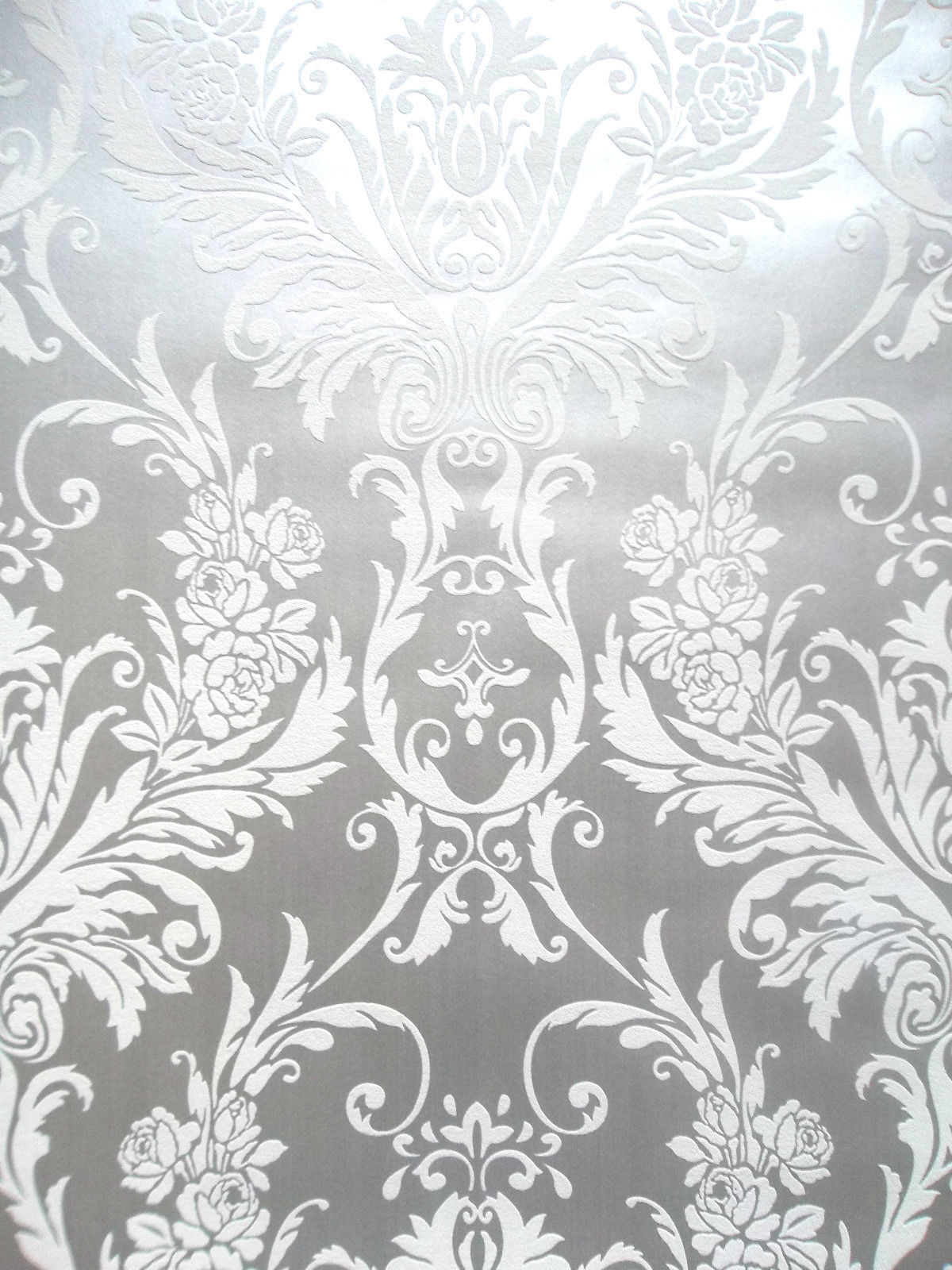 medina white and silver metallic damask feature wallpaper. Black Bedroom Furniture Sets. Home Design Ideas
