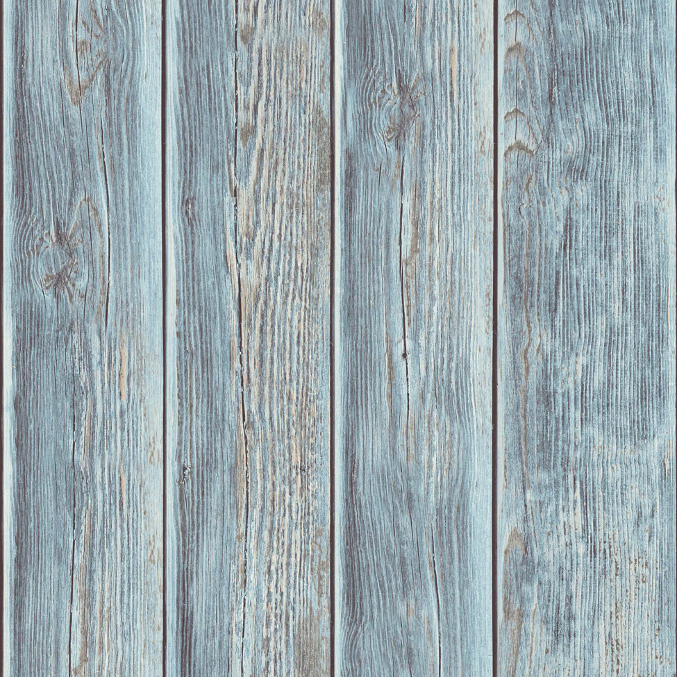 Rustic Wood Faux Textured Plank Panel Blue Vinyl Feature