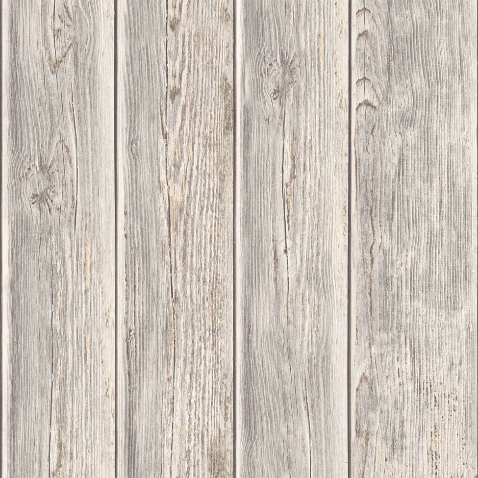 Rustic Wood Faux Textured Plank Panel Taupe Vinyl Feature Wallpaper J86808