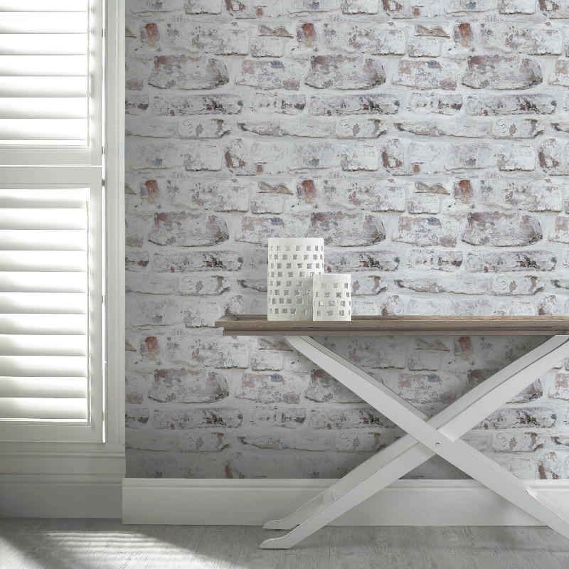 Arthouse VIP Whitewashed Wall Rustic Brick Feature Wallpaper 671100