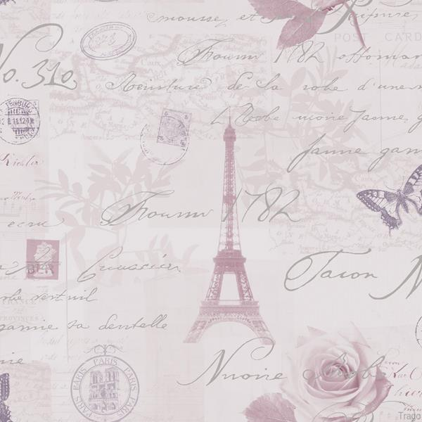Shabby Chic Paris Silver Calligraphy Heather Feature Wallpaper