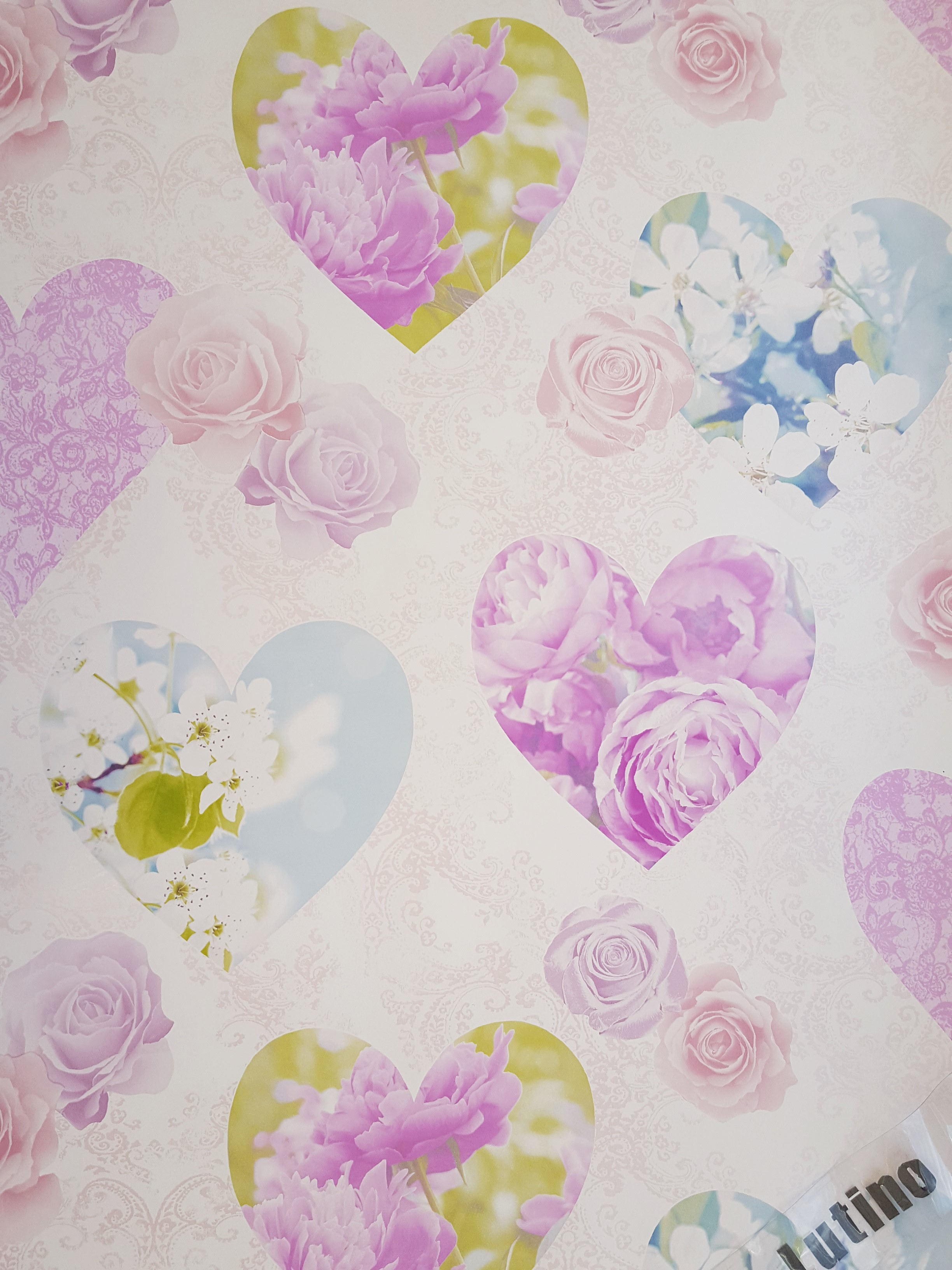 Novelty Shabby Chic Pink Rose Blue Floral Hearts Love Feature Wallpaper FD41913