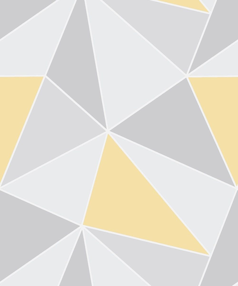 a722a72055f Fine Decor Apex Geometric Abstract Triangles Grey Yellow FD41991 Wallpaper