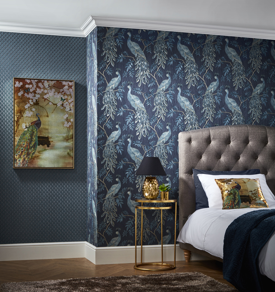 Lazzaro blue peacock bird italian style heavyweight vinyl feature wallpaper 292101 little - Washable wallpaper ...