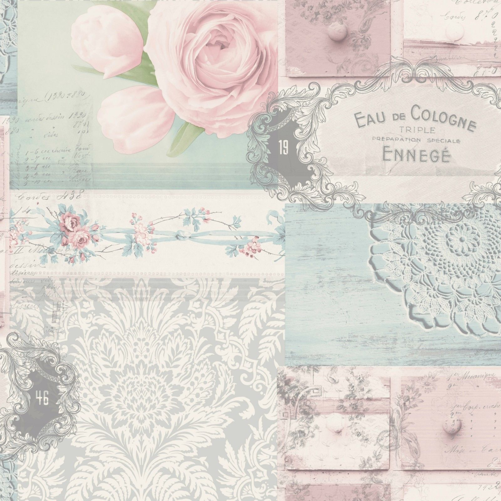 Crown Ophelia Shabby Chic Decoupage Floral Pink Blue Grey ...