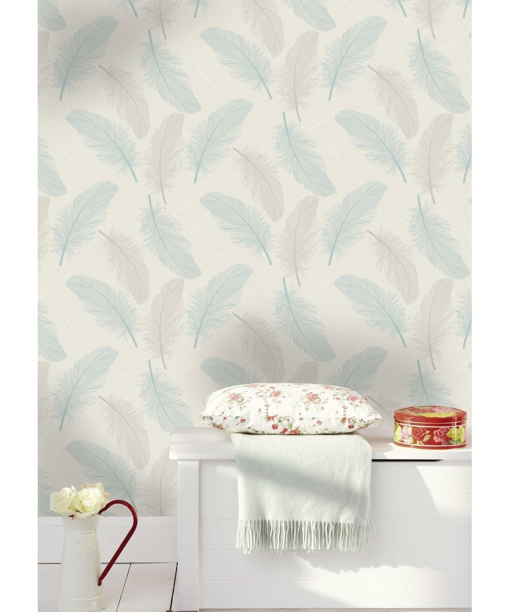 Maisey Teal Grey Cream Silver Glitter Feather Textured Feature Wallpaper 75761